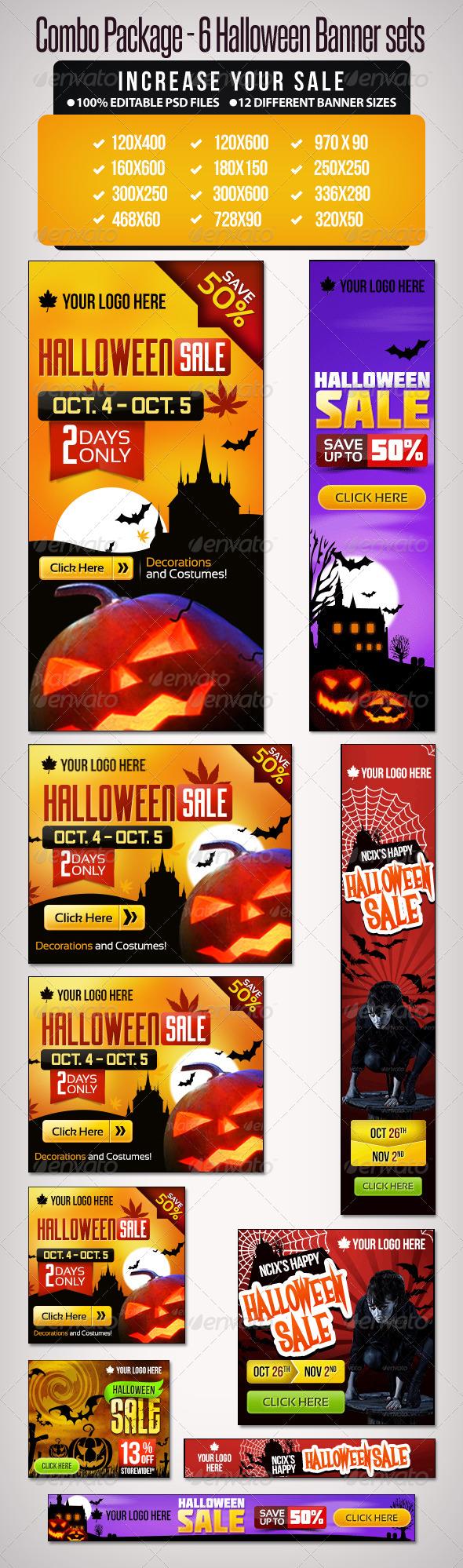 GraphicRiver Bundle- 6 Sets of Halloween Banner Sets 5937112