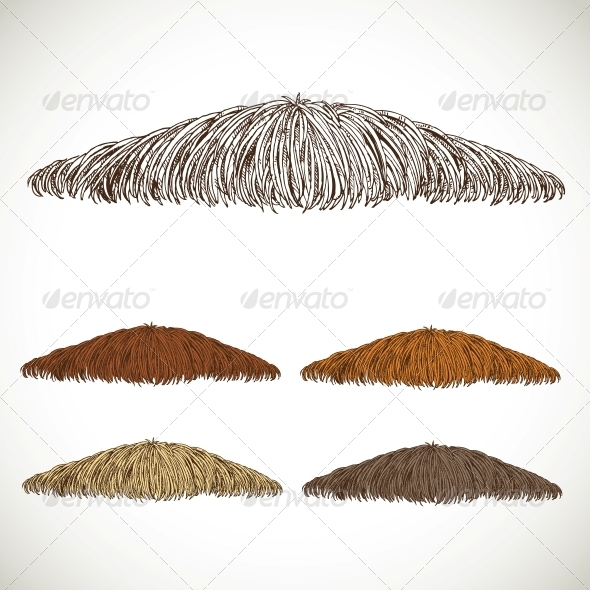 GraphicRiver Mustache Groomed in Several Colors 5937175