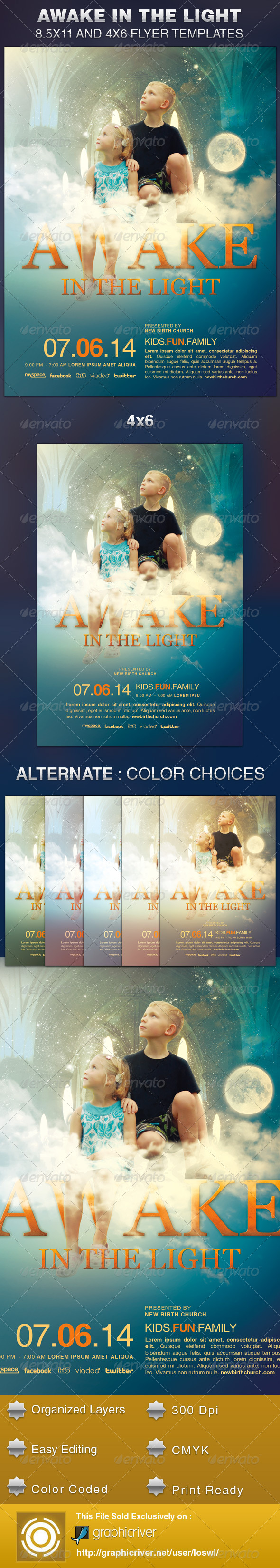 GraphicRiver Awake in the Light Church Flyer Template 5937218