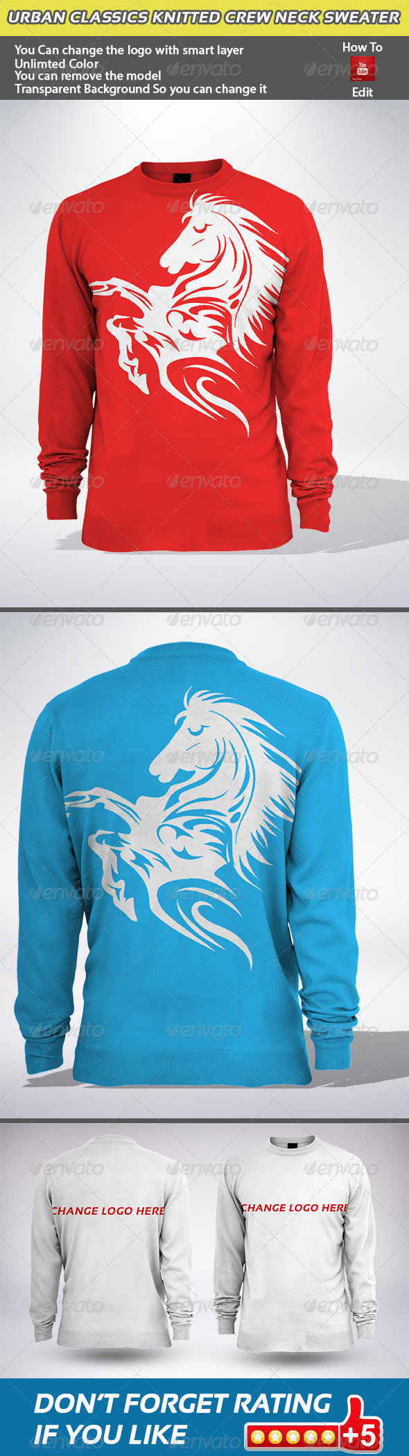 GraphicRiver Urban Classics Knitted Crew Neck Sweater 5938456