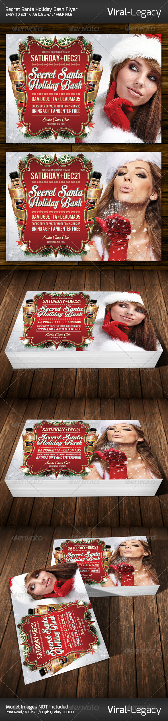 Secret Santa Holiday Bash Flyer - Clubs & Parties Events