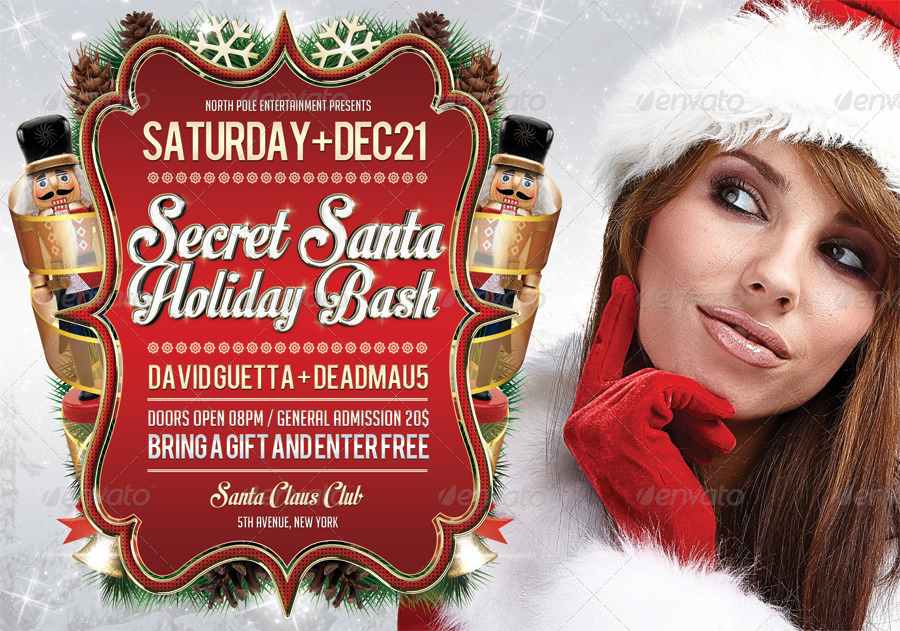 Secret Santa Holiday Bash Flyer