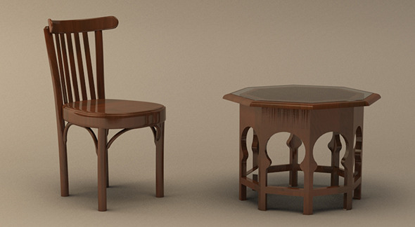 3DOcean Realistic Arabic Style Table and Chair Model 5939380