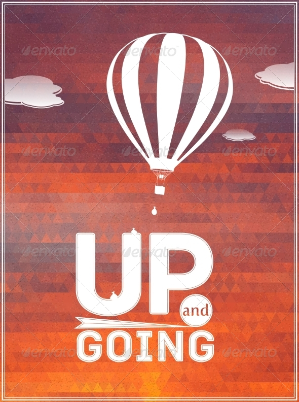 GraphicRiver Hot Air Balloon in the Sky Typographic Poster 5940154