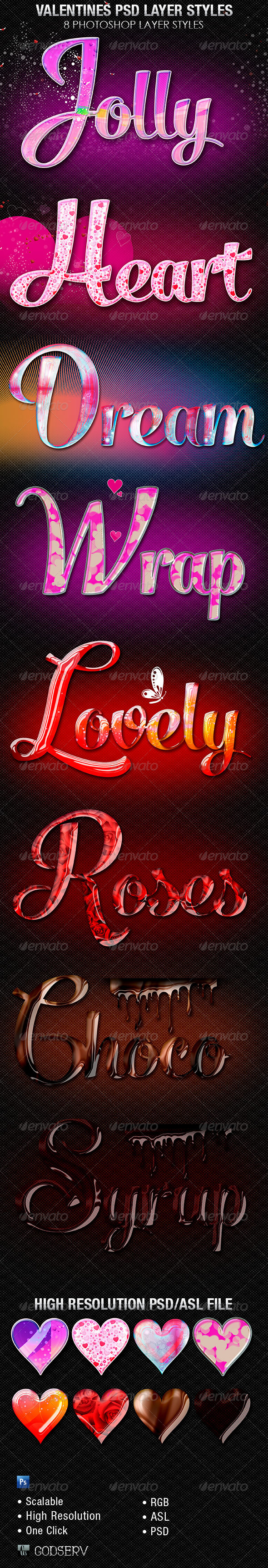 Valentines Photoshop Layer Styles  - Text Effects Styles
