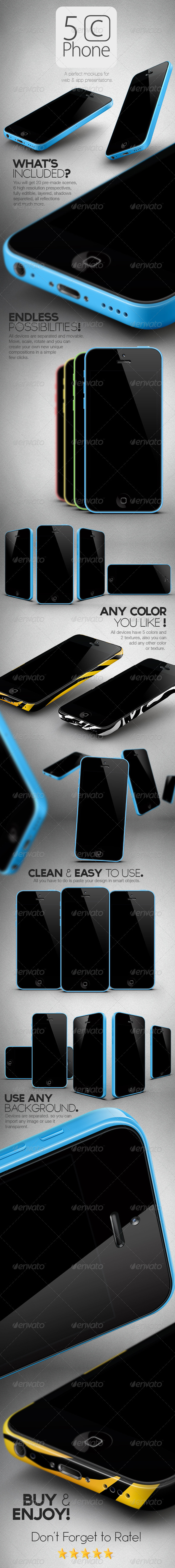 GraphicRiver New 5C Phone Mock Ups Pack 5875561