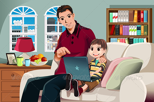 GraphicRiver Father and Son Using Computer 5942397