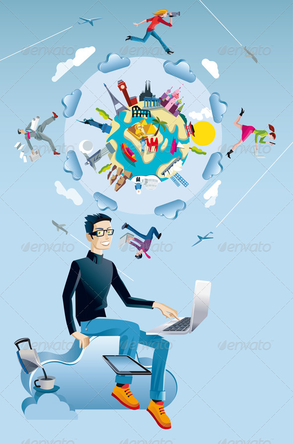 GraphicRiver Man with Computer and World Globe 5942877