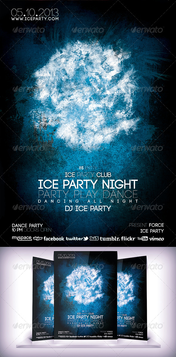 Ice Party Night Flyer - Clubs & Parties Events