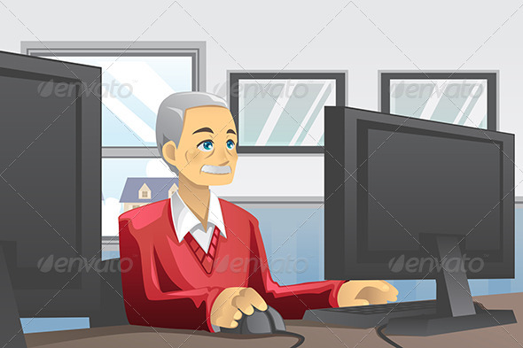 GraphicRiver Senior Man Using Computer 5942949