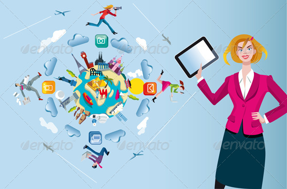 GraphicRiver Woman with Tablet and World Globe 5942974
