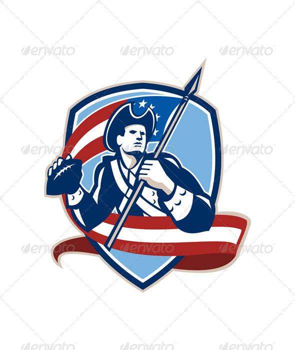 GraphicRiver American Patriot Football Quarterback Shield 5943938