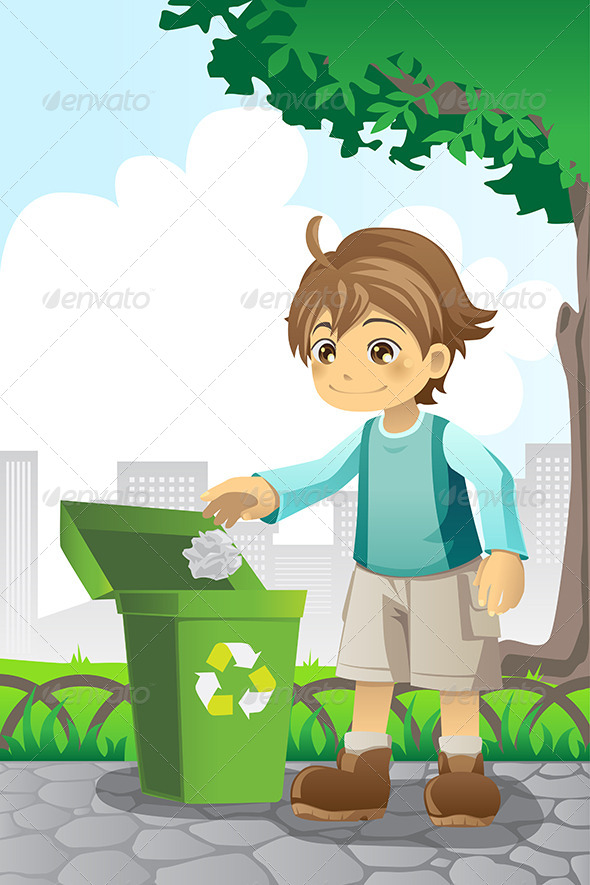 GraphicRiver Boy Recycling Paper 5944073