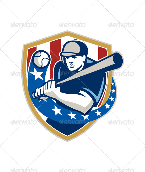 GraphicRiver Baseball Hitter Batting Stars Stripes Retro 5944075