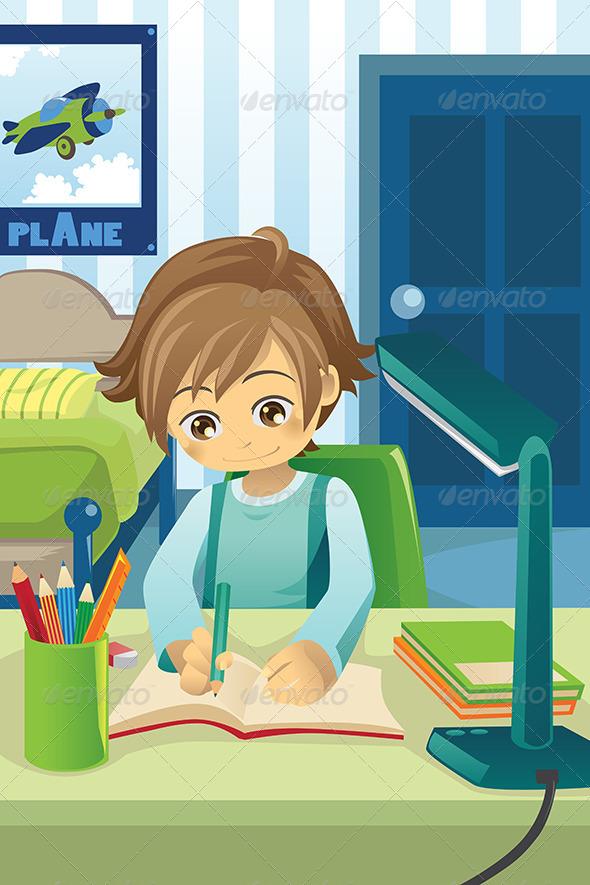 GraphicRiver Studying Kid 5944078