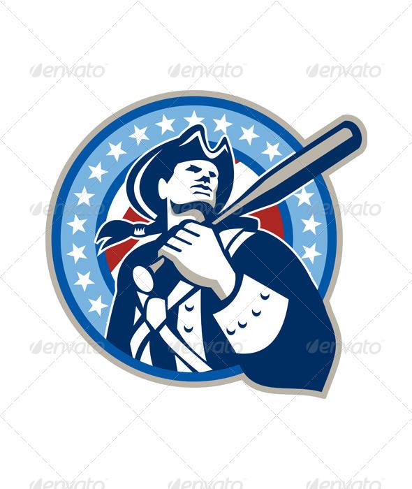GraphicRiver American Patriot Baseball Bat Retro 5944099