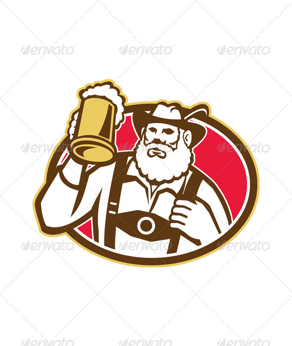 GraphicRiver Bavarian Beer Drinker Mug Retro 5944113