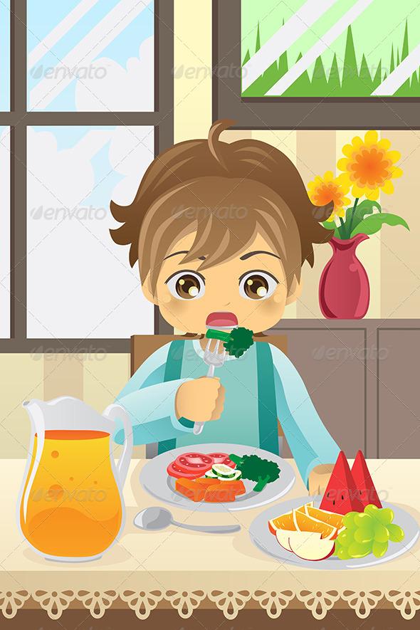GraphicRiver Boy Eating Vegetables 5944157