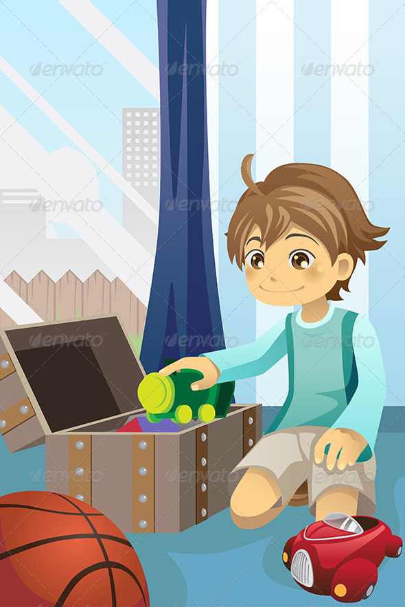 GraphicRiver Boy Cleaning Up his Toys 5944193