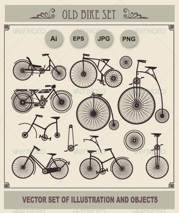 GraphicRiver Set of Retro Bikes 5944298