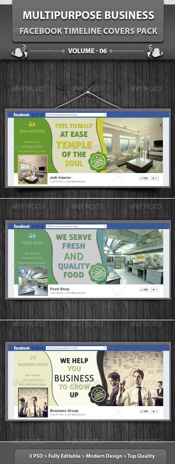 GraphicRiver Multipurpose Facebook Timeline Covers Pack v6 5944329