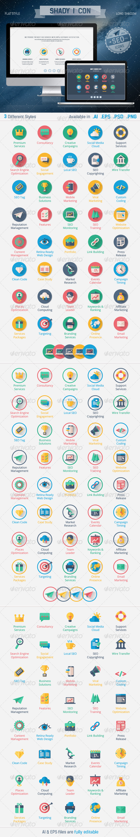 GraphicRiver Shady I Con Seo Flat & Long Shadow Icons 5903410