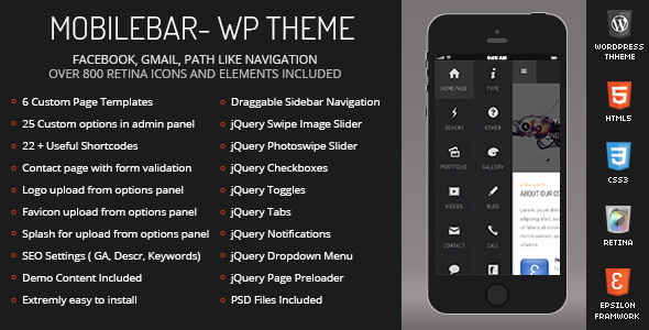 Mobilebar Mobile Retina | WordPress Version