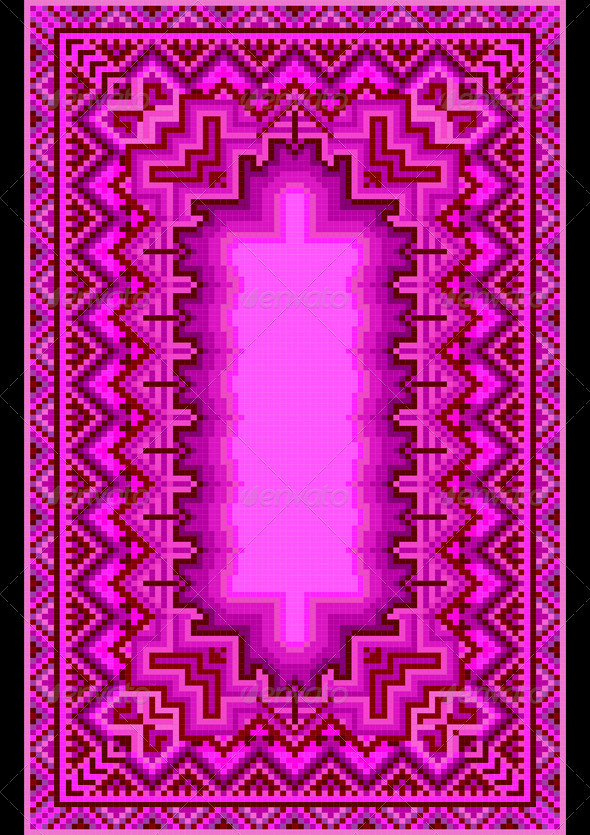 Refined Oriental Carpet in Purple Shades - Stock Photo - Images
