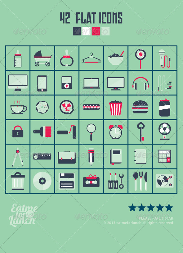 GraphicRiver 42 Flat Icons Design 5946428