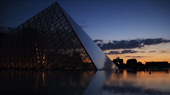 Sunset on Louvre Museum in Paris