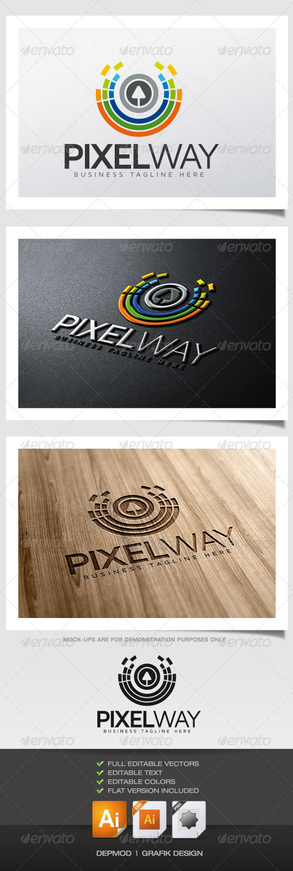 Pixel Way Logo - Abstract Logo Templates
