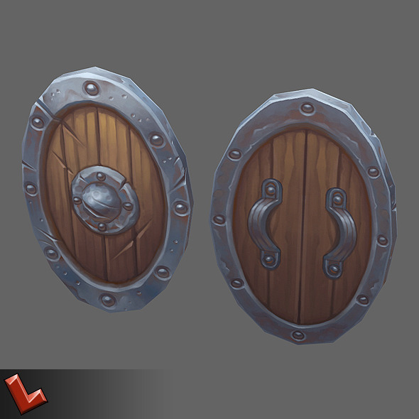 Low poly hand painted shield [Militia 04] - 3DOcean Item for Sale