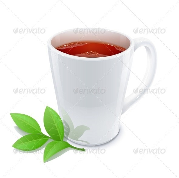 GraphicRiver Cup of Tea with Green Tea Leafs 5947645