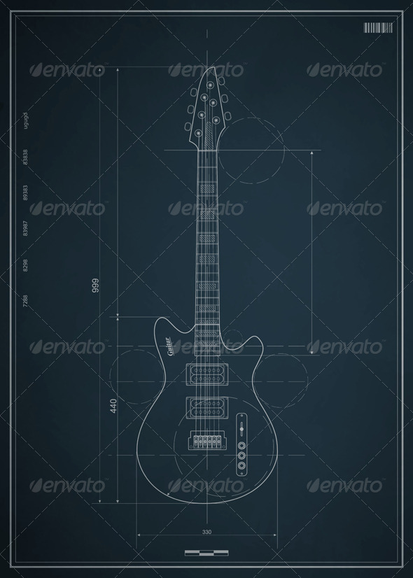 GraphicRiver Blueprint electric guitar with the dimensions 620605