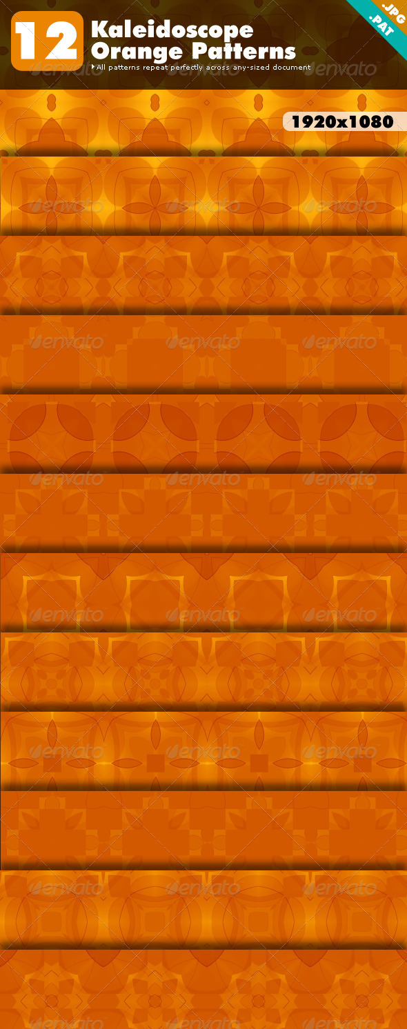 Kaleidoscope Orange Patterns - Abstract Textures / Fills / Patterns