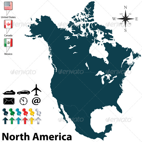 GraphicRiver Political Map of North America 5948924