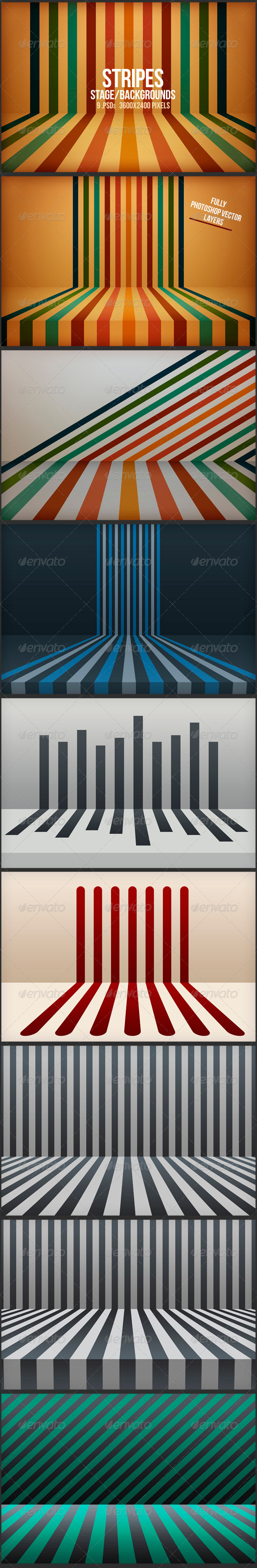 GraphicRiver Stripes Stage Backgrounds 5949043