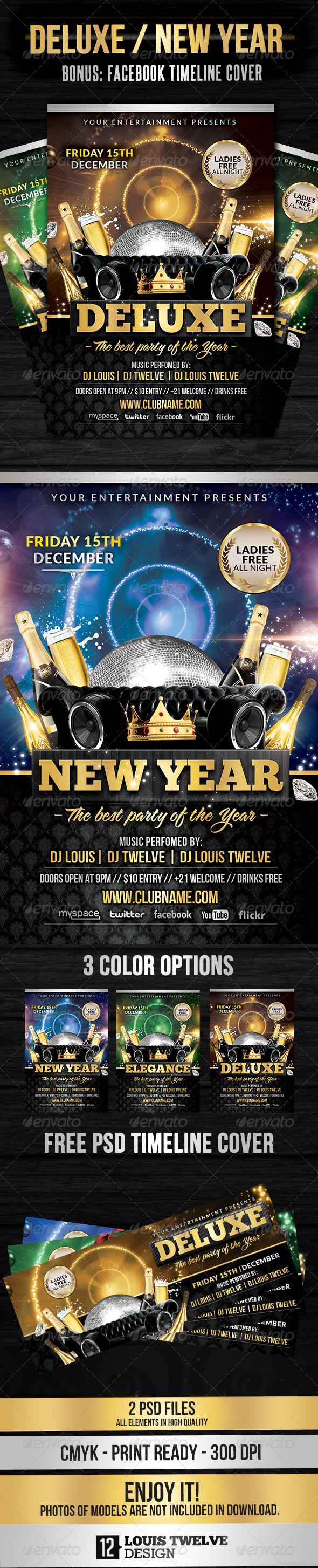 Deluxe / New Year | Flyer + FB Cover - Clubs & Parties Events