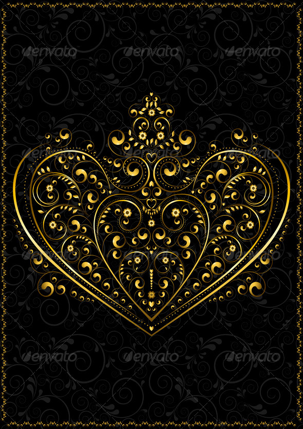 Gold Openwork Pattern in the Form of Heart - Stock Photo - Images