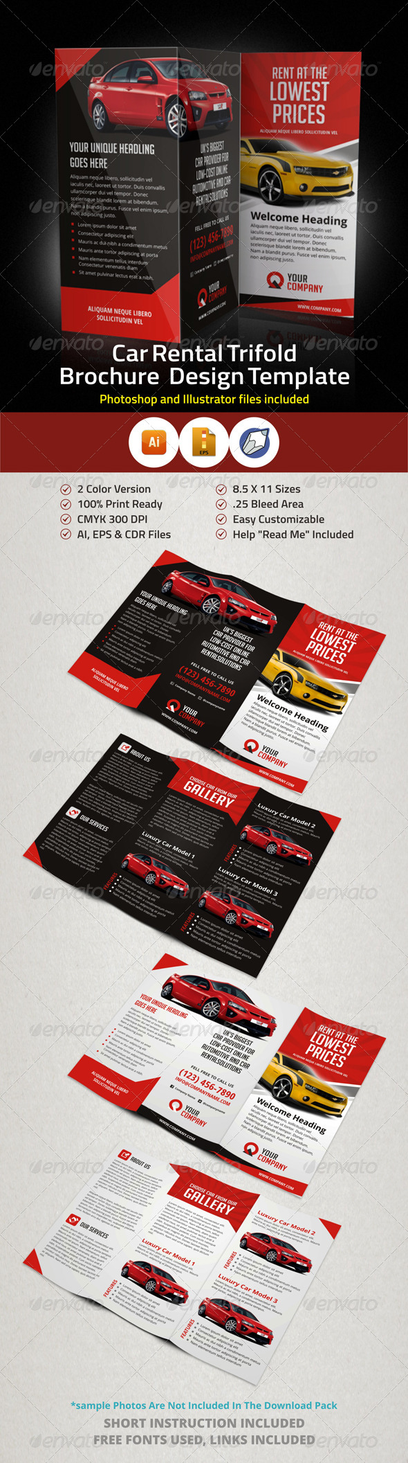 GraphicRiver Creative Car Rental Trifold Brochure Template 5907980