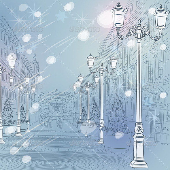 Vector Winter Christmas Cityscape - Buildings Objects