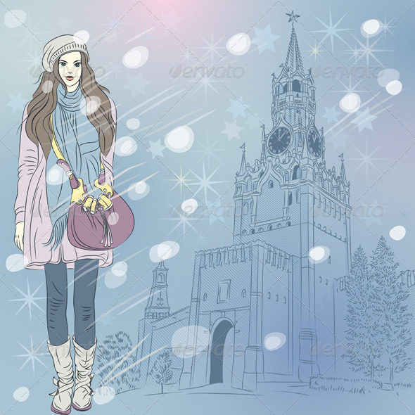 GraphicRiver Vector Christmas Cityscape with Fashion Girl 5951807