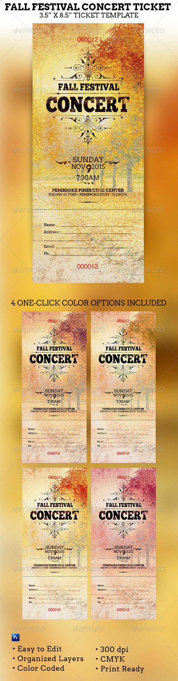 GraphicRiver Fall Festival Concert Ticket Template 5951913