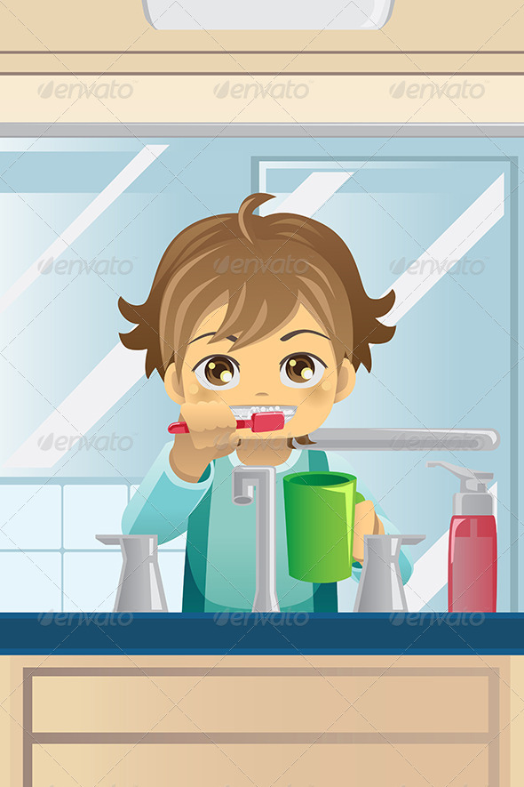 GraphicRiver Boy Brushing his Teeth 5951918