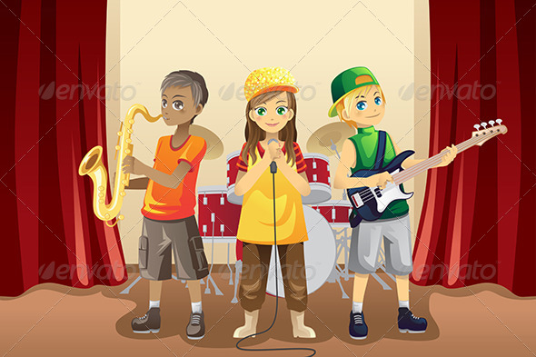 GraphicRiver Little Kids in Music Band 5952326