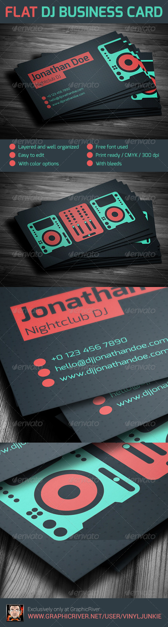 Flat DJ Business Card - Industry Specific Business Cards