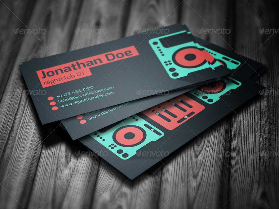 Flat DJ Business Card by vinyljunkie | GraphicRiver