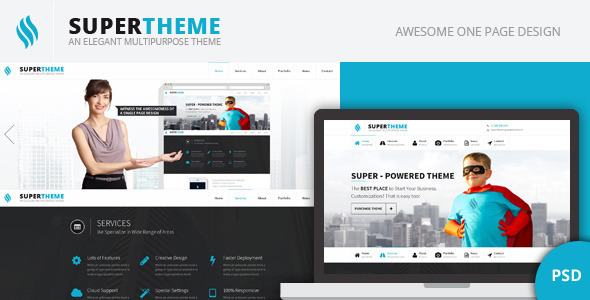 ThemeForest Super An Elegant One Page PSD Theme 5953438