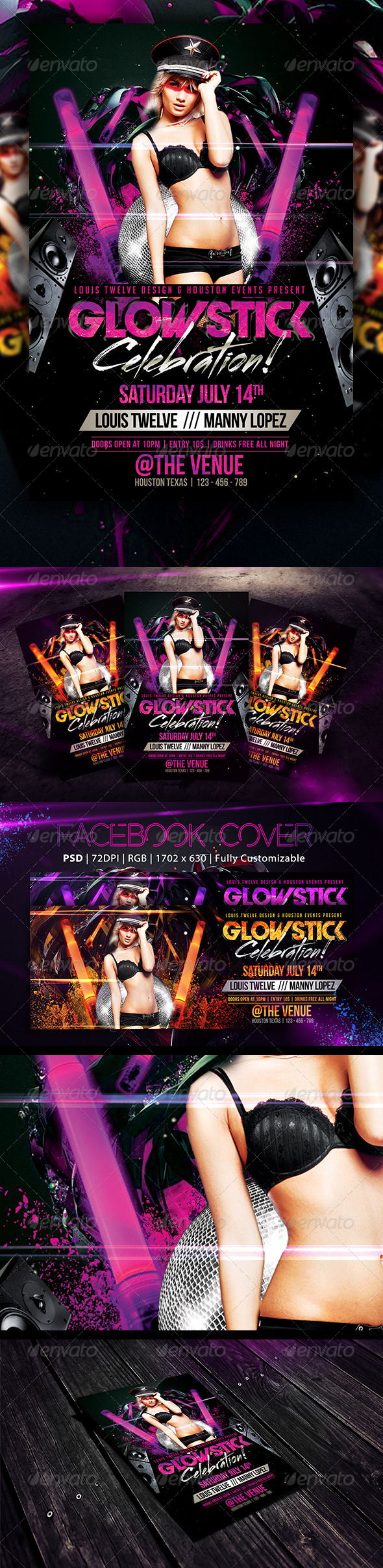 GraphicRiver Glow Stick Party Flyer & FB Cover 5953732