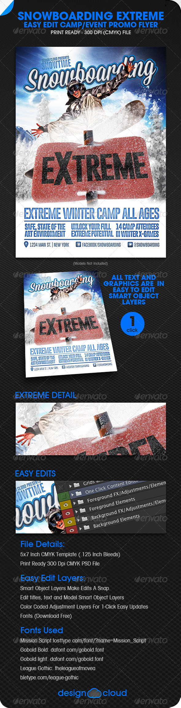 GraphicRiver Snowboarding Extreme Camp Event Promo 5903330